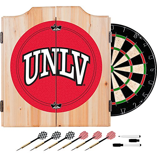 UNLV Deluxe Solid Wood Cabinet Complete Dart Set - Officially Licensed! by TMG