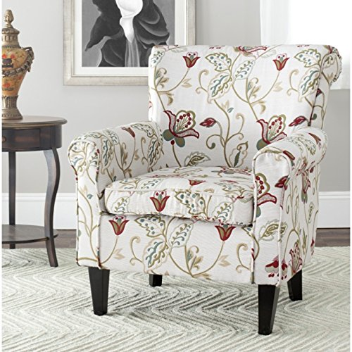 (Safavieh Mercer Collection Margaret Ivory Floral Cotton Club Chair)