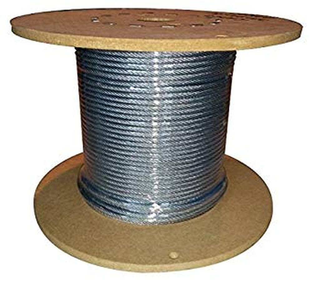 Lexco Cable 332718CCC 250' Spool of 1/8'' Clear PVC Coated 3/32'' 7x7 Galvanized Wire Rope by Lexco Cable