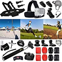Xtech SPORT ACCESSORIES Kit for GoPro Hero 4 3+ 3 2 1 Hero4 Hero3 Hero2, Hero 4 Silver, Hero 4 Black, Hero 3+ Hero3+ Hero 3 Silver, Hero 3 Black and for basketball, Soccer, Football, Golf, Golfing, Tennis, Baseball, Volleyball, Beach-ball, Hockey, Ice Hockey and other Similar Sport Activities Includes: + Head Strap Mount + Helmet Harness Mount + Chest Strap Mount + 2 J-Hook Mount + Camera Wrist Mount + Selfie Stick Monopod Pole + MORE