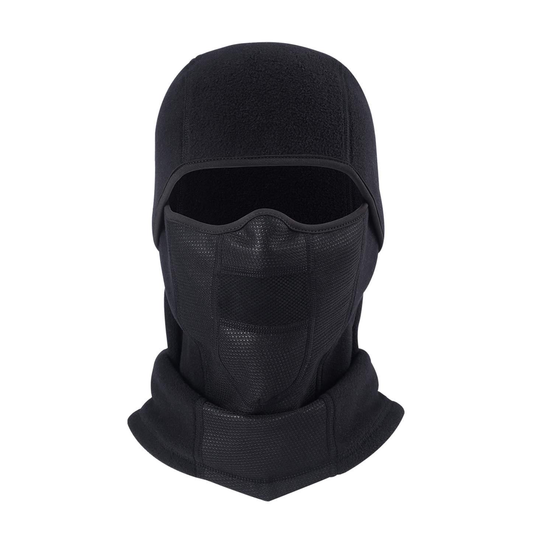 AYPOW Passamontagna caldo e traspirante , copertura per maschera a pieno facciale per ciclismo invernale con pannello a rete, scaldacollo sci in pile antivento per uomo e donna - Taglia elastica universale