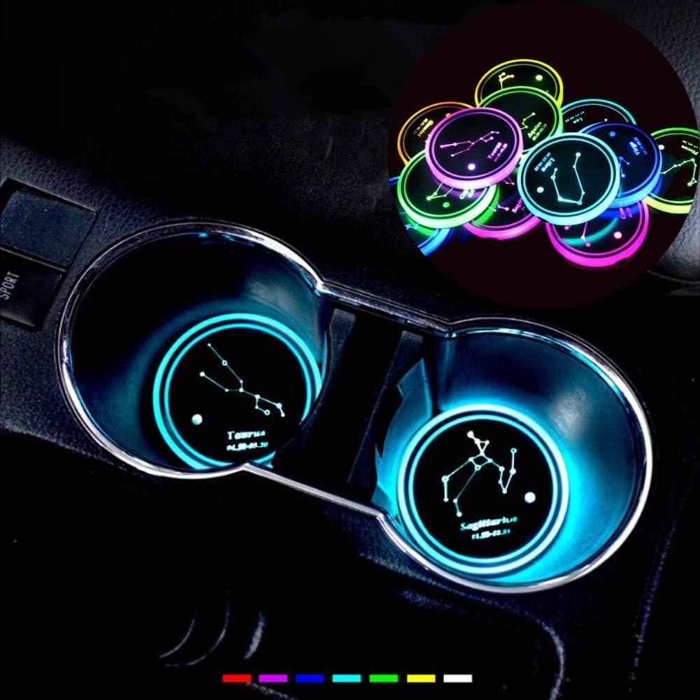 7 Farben Konstellationswechsel USB Ladematte Luminescent Cup Pad Innen Atmosph/äre Lampe Leo Enjoyfeel 2er Pack LED Auto Untersetzer