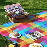 SONGMICS Picnic Blanket 77 x 59 Inches Plaid