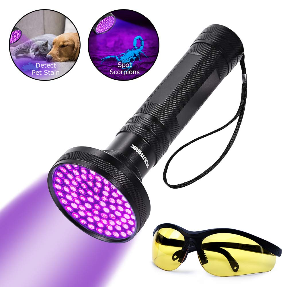 YOUTHINK UV Flashlight Blacklight Ultraviolet Black Light, UV Torch Detector with Glasses, Detecting Scorpion Dog and Cat Urine Stains (100 LEDs New Version) by YOUTHINK