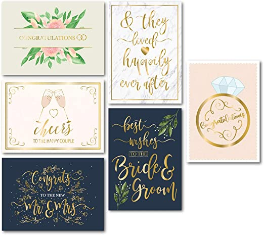 Amazon Com Wedding Greeting Cards 24 Pack Wedding Congratulations Cards Bulk Gold Foil Floral Design Envelopes Included Perfect For Wedding Engagement Newlywed Bride And Groom Mr And Mrs 5 X 7 Inches Home
