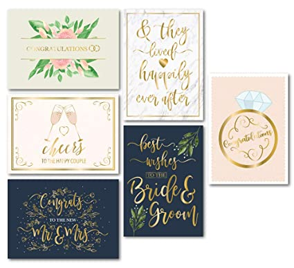 Wedding Greeting Cards.Wedding Greeting Cards 24 Pack Wedding Congratulations Cards Bulk Gold Foil Floral Design Envelopes Included Perfect For Wedding Engagement