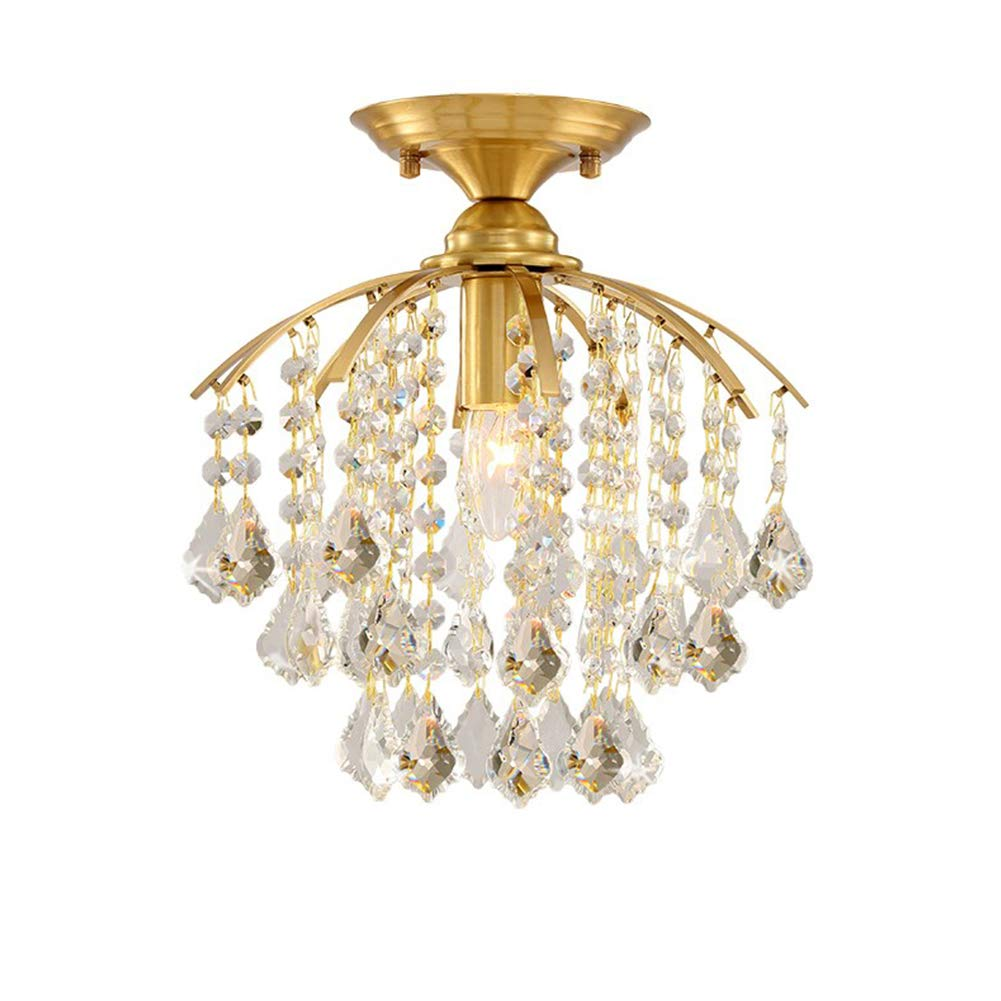 """TopDeng Crystal Ceiling Light for Dining Room Entrance, 11"""", E26 American Style Classic Brass Ceiling lamp Semi Flush Mount Ceiling Lighting Fixture-1 Light 28x32cm"""