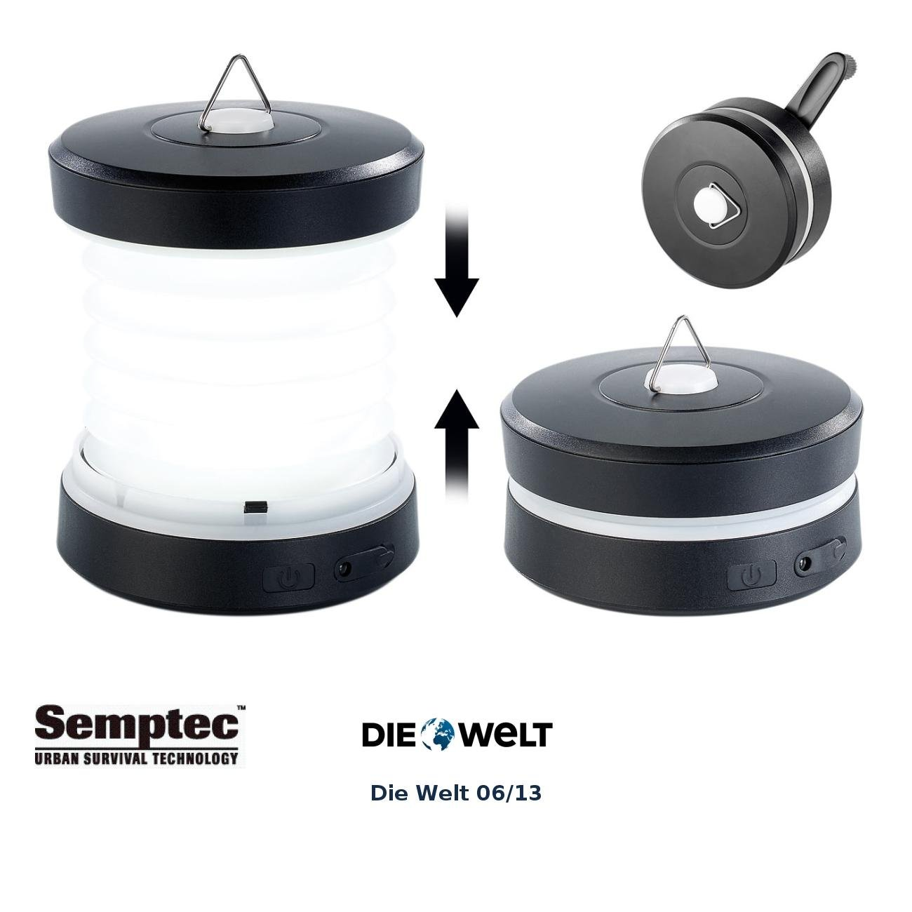 Semptec Urban Survival Technology Camping Lampen: Faltbare Dynamo Campingleuchte mit Kurbel Handy Notladefunktion (Dynamo Lampen)