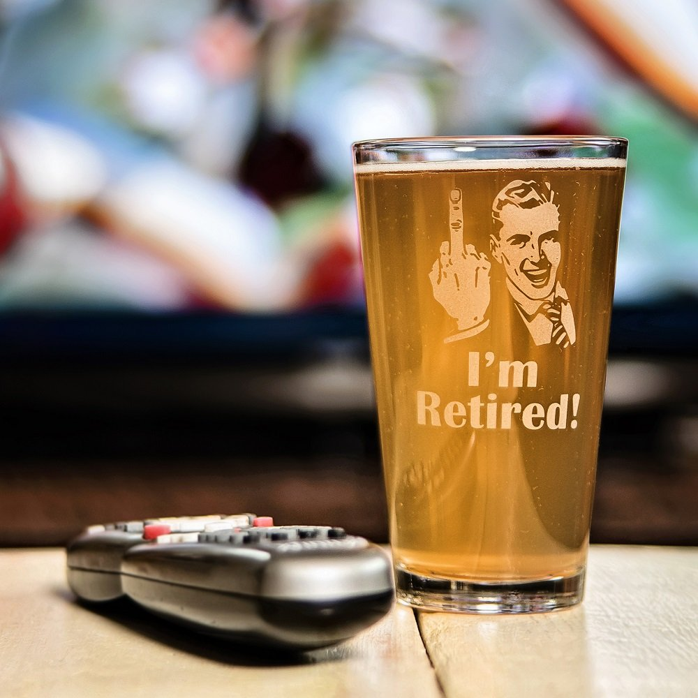 "Retirement Gift Celebration Glass, Drinking Glass for Men, Funny Beer Glasses for Retired Adult Men - ""I'm Retired!"" Pint Glass by Crass Glass (Image #2)"