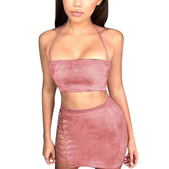 0a735851ace Gamery Women Sexy Two Pieces Halter Off Shoulder Faux Suede Short Dresses  Mini Skirt Pink X