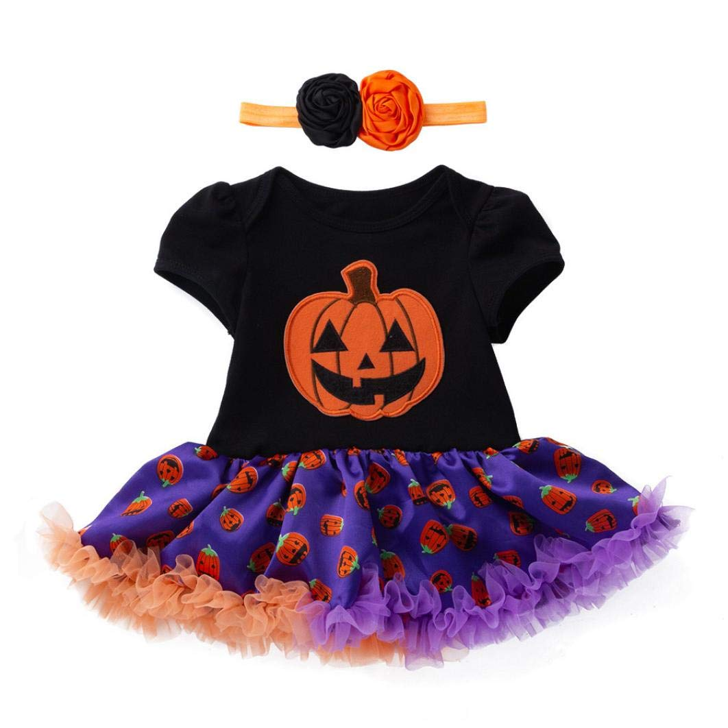 Deloito Infant Costume Dress Rompers Newborn Halloween Baby Girls Party Jumpsuit+Headbands Cotton Outfits Set Pumpkin & Gloves Print Toddler Bow Tutu Clothes