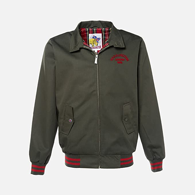 Harrington Chaqueta - para Hombre Verde Caqui L: Amazon.es ...