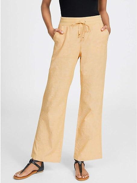 b30c8b0896ff56 G by GUESS Women's Lotus Crosshatch Linen Pants at Amazon Women's Clothing  store: