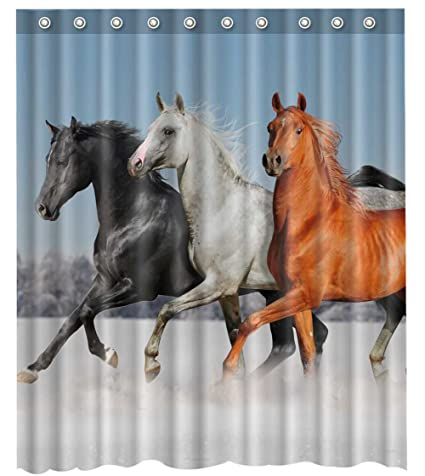 Waterproof Mouldproof Running Horses Shower Curtain 66quot
