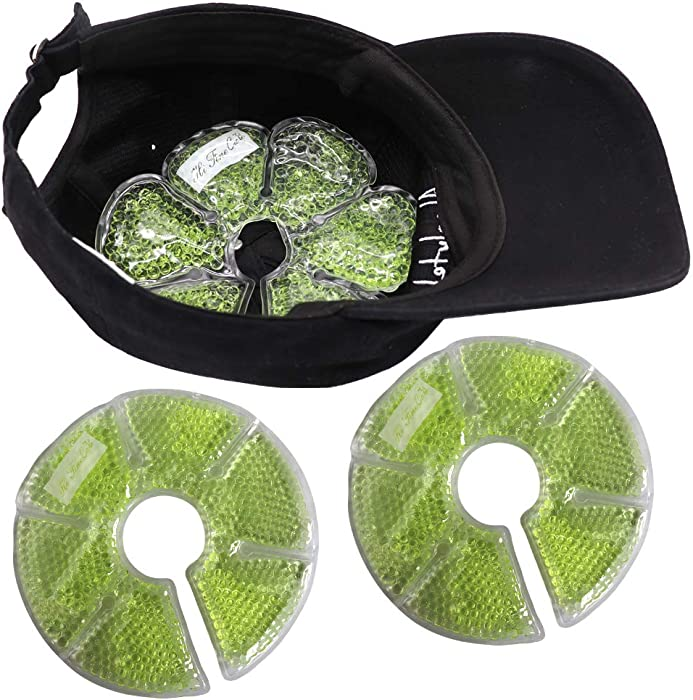 HI FINE CARE Ice Pack for Hat, Cooling Pack in Helmet Cap Cold Gel Bead Pads, Summer Ice Pack for Sun Hat Cooling Hat for Women Men, 2 Count (Green A)