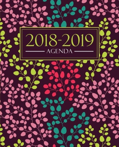 Agenda 2018-2019: 19x23cm agenda 2018-2019 semainier : motif floral tendance, jaune, rose, bleu canard et corail (Calendriers, agendas, organiseurs & planificateurs) (French Edition)