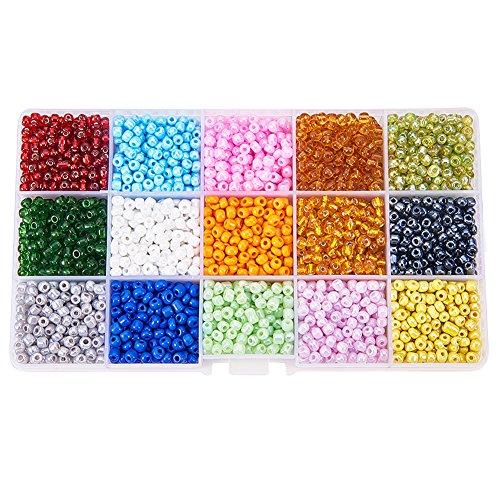 Pandahall 1 Box 15 Color 6/0 Glass Seed Beads 4mm (about 5850pcs/box)
