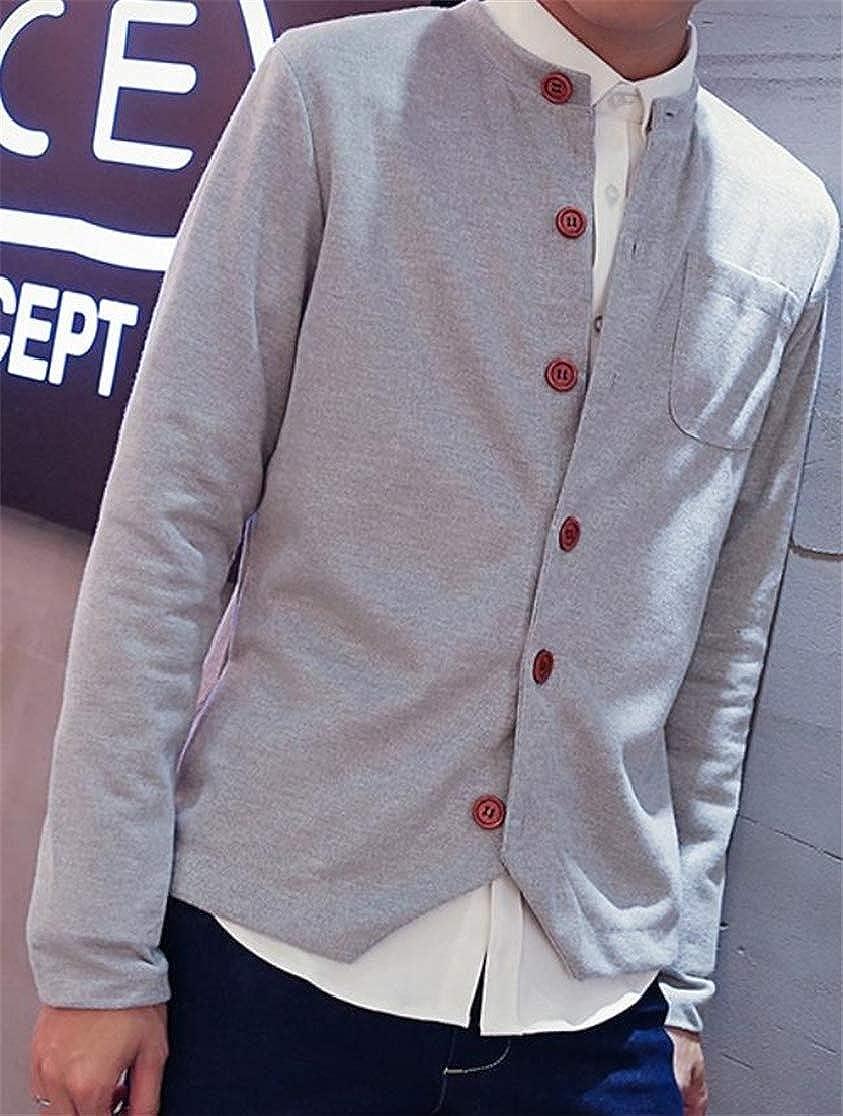 Joe Wenko Mens Thin Leisure Knitting Stylish Long Sleeve Irregular Overcoat Crewneck Cardigans
