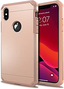 ImpactStrong iPhone X Case/iPhone Xs Case, Heavy Duty Dual Layer Protection Cover Heavy Duty Case for iPhone X/Xs 5.8 inch (2018) - Rose Gold