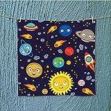 L-QN swim towel solar system vector eps Super Soft W19.7 x W19.7