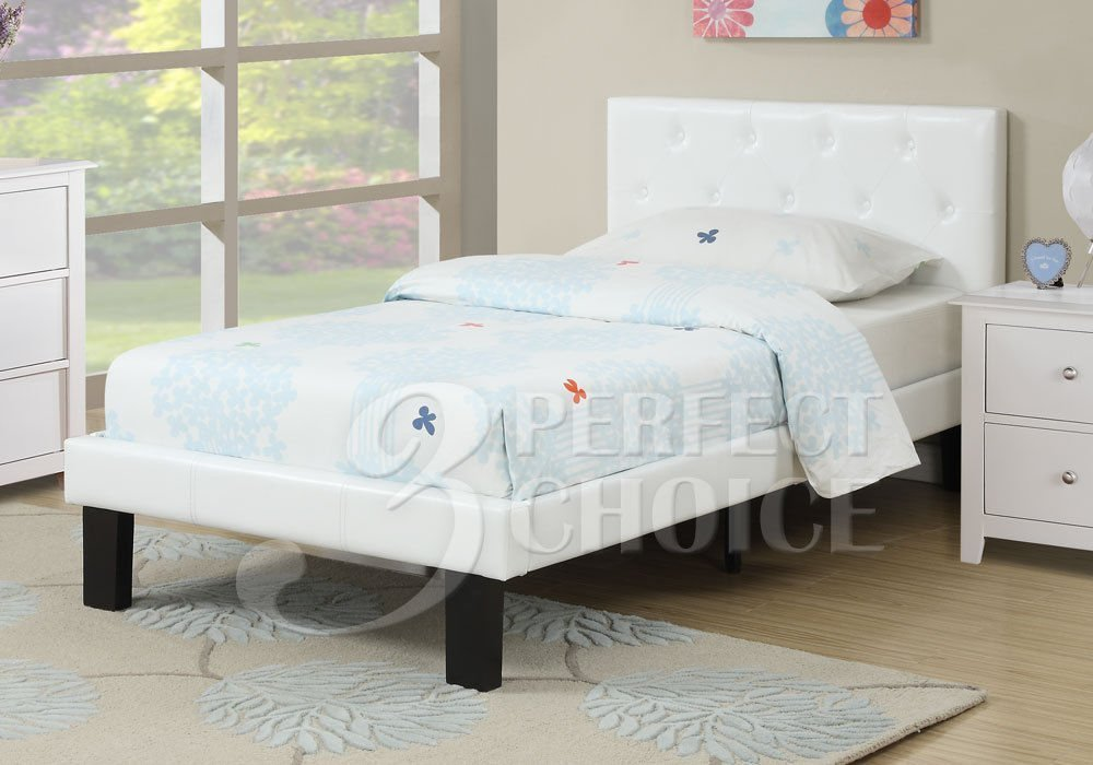 Poundex PU Upholstered Platform Bed, Twin, White by Poundex