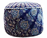 Handicraft-World Indian Beautiful Large Mandala Seating Furniture Round Floor Meditation Footstools Ottoman Poufs Cover Footstool ottoman 24'' By HW-26
