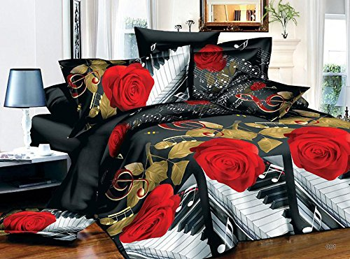 EsyDream Home Bedding 3D Rose Music Noted,King Size Music Noted Black Red Rose Duvet Cover,Queen Twin Size 100% Polyester (No Comforter),Queen/Full Size