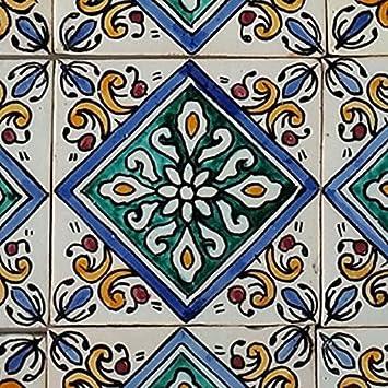 Orientalische Keramik Fliesen handbemalte marokkanische Motiv Fliese RABIA 10 x 10 cm