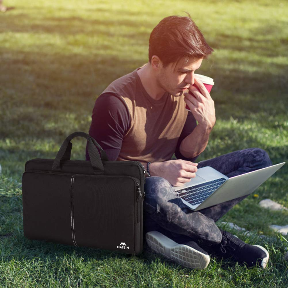 MATEIN Sacoche Ordinateur Portable 17.3 Pouces,Laptop Bag pour Homme Femmes Sac /à Bandouli/èRe pc Portable,Business Housse de Laptop pour 14-17.3 Macbook Pro//Dell//Ausu//HP Notebook,Noir