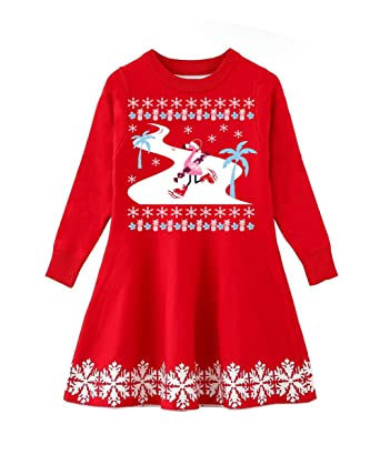 8916cab65a0 Funnycokid Girl s Ugly Christmas Sweater Dress Kids Pullover Xmas Ski  Flamingo Red Dress