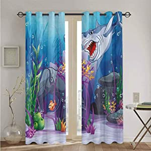 nooweihome Ocean Grommets Curtain for Kids Room Cartoon Style Underwater World Plants and Evil Shark Chasing Little Fish Illustration Suitable forBreathable Material W96 x L84 Multicolor