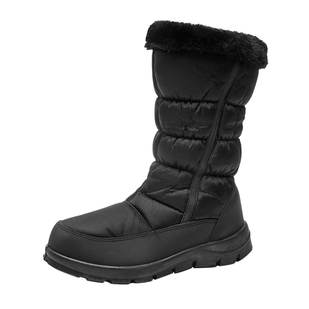ZOMUSAR Women Winter Warm Boots Platform-Bottom Side Zip Ankle Bare Boots Casual Booties Black by ZOMUSAR
