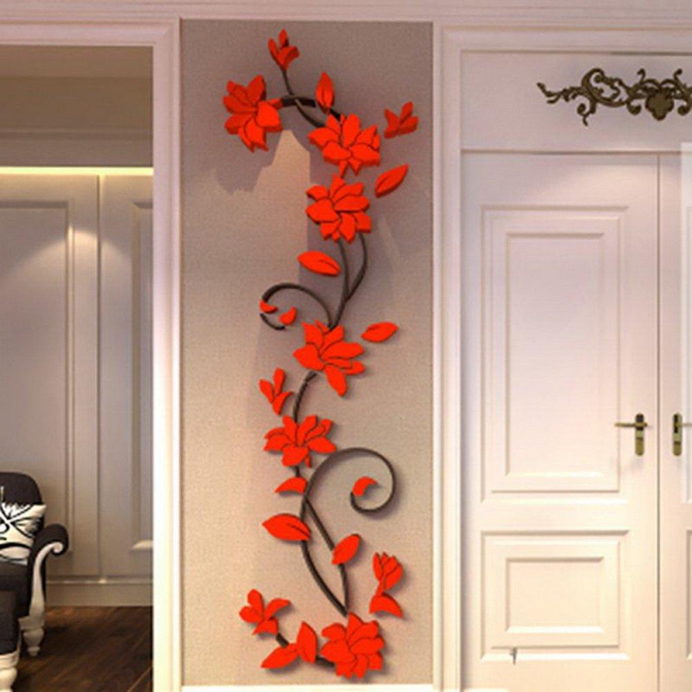 Amazon.com: Fenta Wall Decoration Rose Flower Acrylic 3D Wall Sticker: Home  U0026 Kitchen