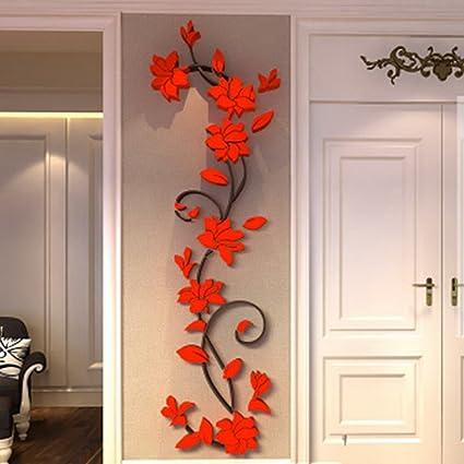 Fenta Wall Decoration Rose Flower Acrylic 3d Wall Sticker