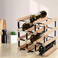 Artiss Wine Rack 12 Bottles Free Standing Wooden Wine Storage Display Shelf