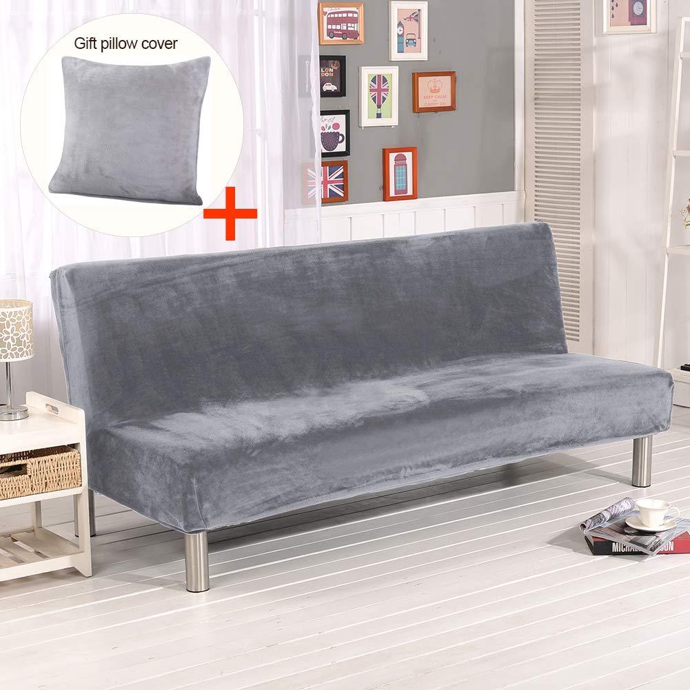 ele ELEOPTION Hengwei Armless Sofa Slipcover Stretch Sofa Bed Cover Protector Elastic Spandex Modern Simple Folding Couch Sofa Shield Futon Cover (Grey+Thicker Plush)