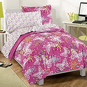 Dream Factory Butterfly Party Ultra Soft Microfiber Girls Comforter Set, Pink, Twin