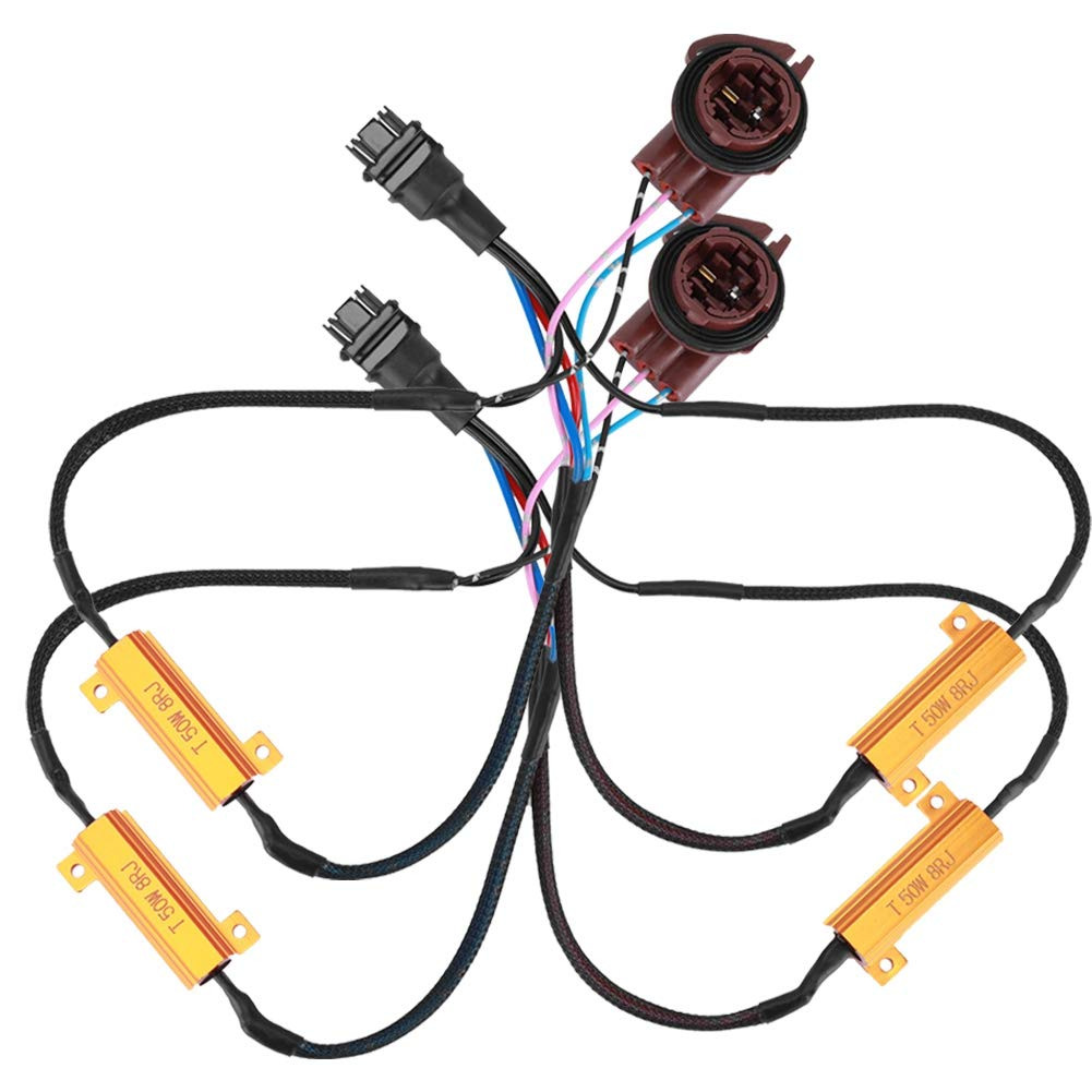 ABS Wiring Harness Turn Signal Resistor for Bulb 3157B 50W8RJ Duokon 1 Pair of LED Light Load Resistor