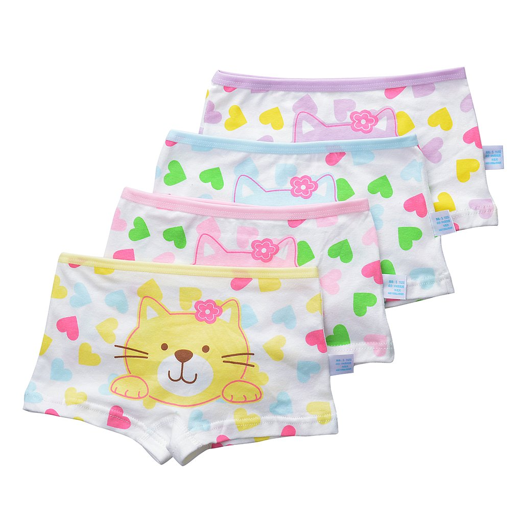 Toddler Girls' 4-Pack Love Heart Pussy Cat Assorted Hipster Panties Cotton Seamless Underwear Set Size XL/8-10 Years by Xrknofio (Image #1)