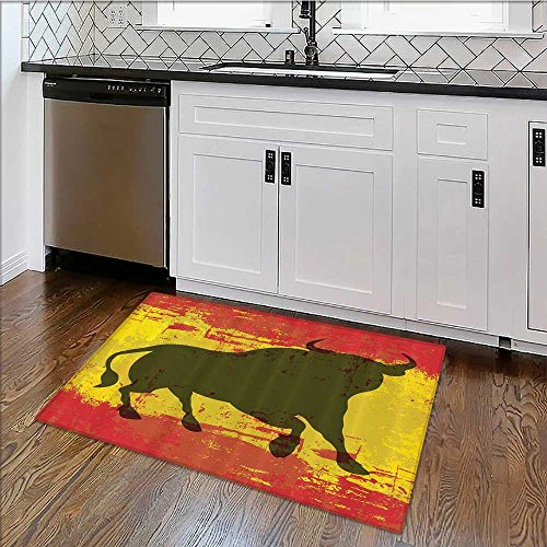 Home Décor Rug iard Spain Flag Grunge Digital Clip Funky Lovely Home Bathroom for Living Room, Bedroom, and Dining Room W39''xH20'' by SCOCICI1588