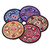 5 Pcs Chinese Folk Style Embroidery Coasters Features Souvenir Gifts Crafts Set Of 5 (Color 1)