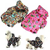 FunnyDogClothes For SMALL Pet Cat Dog RainCoat Hoodie Coat WATERPROOF Rain Jacket Rainwear (M: Length - 14'', PINK)
