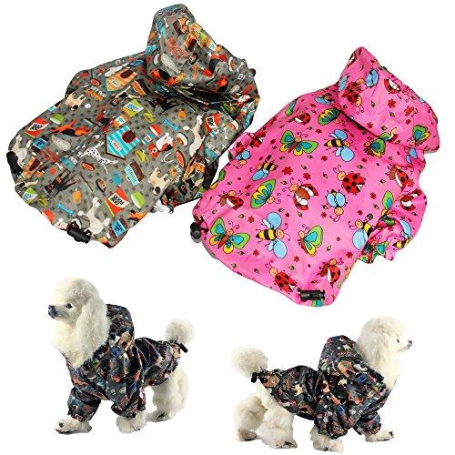 (FunnyDogClothes For SMALL Pet Cat Dog RainCoat Hoodie Coat WATERPROOF Rain Jacket Rainwear (M: Length - 14