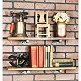 Rustic Pipe Decor Industrial Shelf Brackets – Set of Four, Industrial Steel Grey Iron Fittings, Flanges and Pipes For Custom Floating Shelves, Vintage Furniture Decorations, Wall Mounted Hanging DIY B
