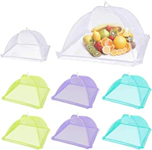 Lauon Food Cover Food Tent, Large Pop-up Mesh Food Cover, 8 Pack Colored Screen Tent Patio Bug Net for Outdoors, Parties Picnics, BBQ, Reusable and Collapsible, 17 Inches