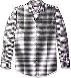 Van Heusen Men's Traveler Stretch Long Sleeve Button Down Black/Khaki/Grey Shirt, Aluminum, Medium