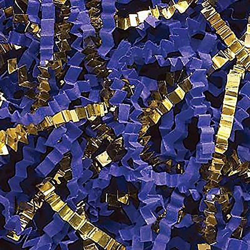 Paper Decorative Metallic (Custom & Unique {12 Ounces} of Crinkle Cut Shredded Gift Basket Filler Paper Made From Cardstock w/ Fancy Metallic Golden Accent & Royal Tone Special Elegant Formal Decorative Design (Gold & Blue))