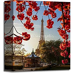 Eiffel Tower With Spring Tree In Paris, France Paper Print Wall Art Gallery Wrapped Canvas Art (10in. x 8in.)