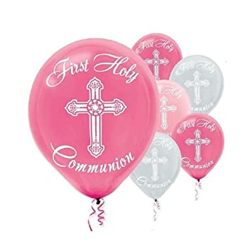 Girl\u0027s - Pink and Silver First Holy Communion Latex Balloons - 15ct  sc 1 st  Amazon.com & Amazon.com: Girl\u0027s - Pink and Silver First Holy Communion Latex ...