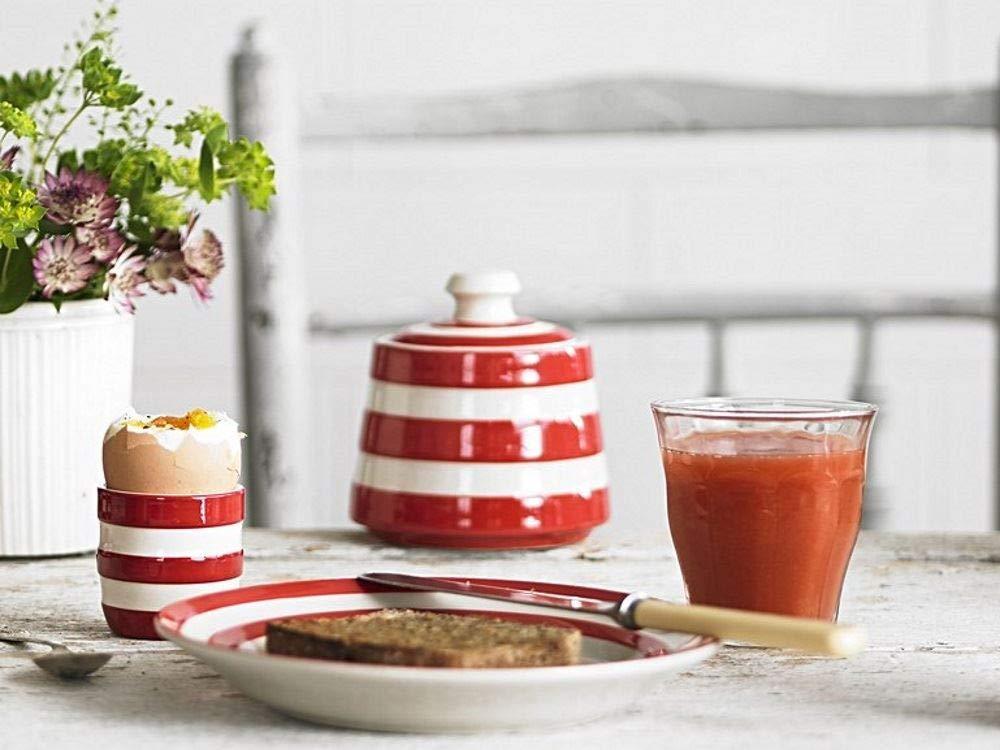 Cornishware Red and White Stripe Stoneware Covered Sugar Bowl